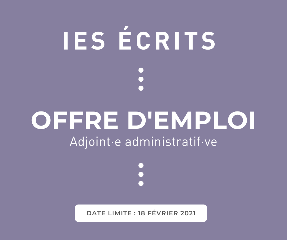Offre d'emploi – Adjoint·e administratif·ve